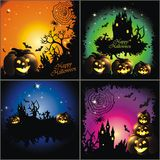 Happy Halloween. Set of 4 Happy Halloween backgrounds with pumpkin and stars Stock Photo