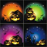 Happy Halloween. Set of 4 Happy Halloween backgrounds with pumpkin and stars Royalty Free Stock Images