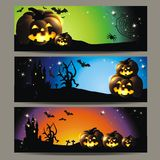 Happy Halloween. Set of 3 Happy Halloween backgrounds with pumpkin and stars Royalty Free Stock Photography
