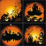 Happy Halloween. Set of 4 Happy Halloween backgrounds with pumpkin and stars Stock Image