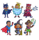 Happy halloween. Set of cartoon cute children in different costumes batman, witch, angel, devil superhero and pirate. Stock Photos