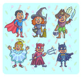 Happy halloween. Set of cartoon cute children in different costumes batman. Witch, angel, devil superman and pirate. Vector Illustration Stock Image