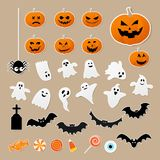 Happy halloween set of characters in cartoon sticker style with pumpkin, spider, ghost, bat and candy on paper background. Vector illustration royalty free illustration