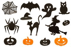Happy Halloween Set silhouettes cut out of black orange paper isolated on white background. stock photography