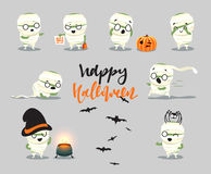 Happy Halloween. Set cute cartoon character costumes, zombie, mummy. Royalty Free Stock Photos