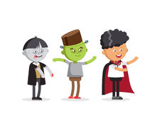 Happy Halloween. Set of cute cartoon children. In colorful halloween costumes frankenstein and skeleton, zombie boy. Flat illustration set of halloween kids Stock Photo