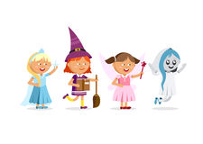Happy Halloween. Set of cute cartoon children. In colorful halloween costumes witches, ghost, ice queen, faerie. Flat illustration set of halloween kids Royalty Free Stock Image