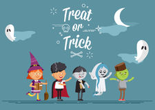 Happy Halloween. Set of cute cartoon children. In colorful halloween costumes witches, ghost, skeleton, zombie. Flat illustration set of halloween kids Stock Image