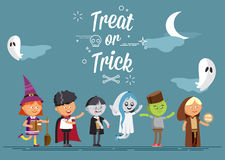 Happy Halloween. Set of cute cartoon children. In colorful halloween costumes witches, ghost, skeleton, zombie. Flat illustration set of halloween kids isolated Stock Image