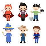 Cute cartoon children in colorful halloween costumes. Happy Halloween. Set of cute cartoon children in colorful halloween costumes Royalty Free Stock Images