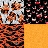 Happy Halloween set of four seamless patterns. Bats, monsters Stock Photo