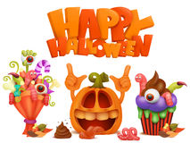 Happy Halloween set of  icons. Vector illustration Royalty Free Stock Photography