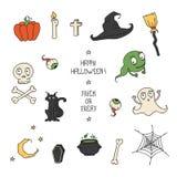 Happy Halloween. Set with pumpkins, skulls, cats, Stock Image