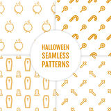 Happy Halloween set of seamless patterns with cauldron, cross, candies, coffin and graves Royalty Free Stock Images