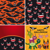 Happy Halloween set of two seamless patterns and Royalty Free Stock Photos
