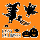 Happy Halloween set. Witch pumpkins, bat, spiders, Royalty Free Stock Image