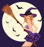Happy Halloween. Sexual young witch with broom. Vector illustration Royalty Free Stock Images