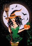 Happy Halloween. Sexy night witch with pumpkin Royalty Free Stock Photos