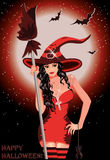 Happy Halloween. Sexy witch with broom Stock Photos