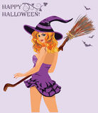 Happy Halloween. Sexy witch with broom. Vector Royalty Free Stock Photo