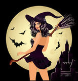 Happy Halloween. Sexy witch and moon. Vector illustration Stock Images