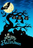 Happy Halloween sign with bats Stock Photos