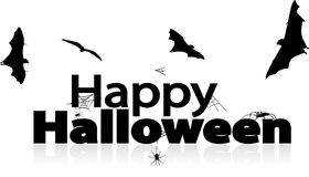 Happy Halloween. Halloween sign with bats and spiders Stock Photos