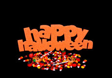 Happy Halloween Sign And Candy Stock Photos