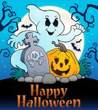 Happy Halloween sign with ghost subject Royalty Free Stock Photography