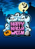 Happy Halloween sign with ghosts Royalty Free Stock Images