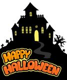 Happy Halloween sign with house Royalty Free Stock Photos