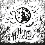 Happy Halloween sign and icons for Halloween Stock Photos