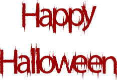 Happy Halloween sign. Illustration of a happy Halloween sign in dripping red blood, white background Stock Photo