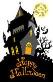 Happy Halloween sign with mansion Stock Photos