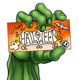 Happy Halloween Sign Monster Zombie Hand Royalty Free Stock Photography