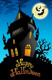 Happy Halloween sign with old house Stock Photo