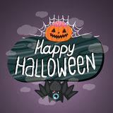Happy Halloween sign with pumpkin, bat, web. Stock Photography