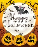 Happy Halloween sign with pumpkins 3 Royalty Free Stock Images