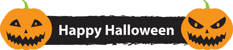 Happy Halloween sign with two scary pumpkins Stock Photography