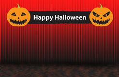 Happy Halloween sign with two scary pumpkins, Red rising curtain Royalty Free Stock Photography