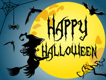 Happy Halloween Silhouette young flying broom full moon Stock Photos