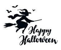 Happy Halloween. Silhouette young witch flying on broomstick Royalty Free Stock Image