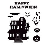 Happy Halloween silhouettes collection of related holiday objects. Black and white icons set traditional attributes. Stock Photography