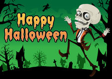 Happy Halloween Skeleton Postcard. Stock Photo