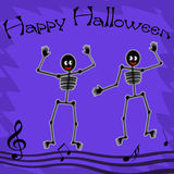 Happy Halloween skeletons. Eerie skeletons dance happy Halloween poster Royalty Free Stock Photography