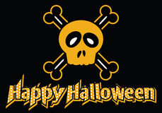 Happy Halloween skull and crossbones. Happy Halloween dotted text with skull and crossbones Royalty Free Stock Photo