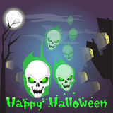 Happy Halloween Skull Human Head Ghost Banner Scary Face Stock Photo