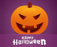 Happy Halloween. Smiling pumpkin face on purple background. Greeting card. Royalty Free Stock Image