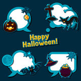 Happy halloween speech bubbles with stickers Royalty Free Stock Photography