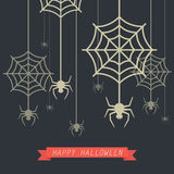 Happy Halloween Spider with Cobweb. Vector Illustration vector illustration